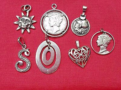 Lot of Vintage Sterling Silver Pendants, Coins, Diamond Chip, Estate Jewelry