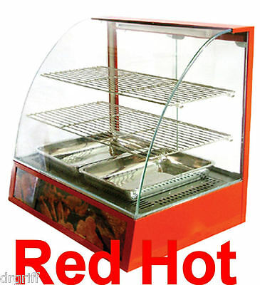 Omcan 21479 Red Curved Glass Hot Food Warmer Display Merchandiser Case DH2P