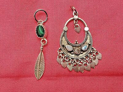 Lot of Vintage Sterling Silver Pendants, Navajo Malachite Feather,Estate Jewelry