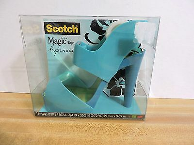 SCOTCH TAPE DISPENSER W/ MAGIC TAPE NIB AQUA COLOR High Heel
