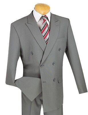 Men's Gray Double Breasted 6x2 Button Classic Fit Polyester Suit NEW