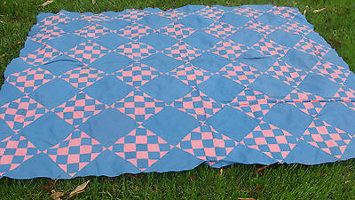 """antique all hand stitched quilt top, 79"""" x 66"""", no reserve *"""