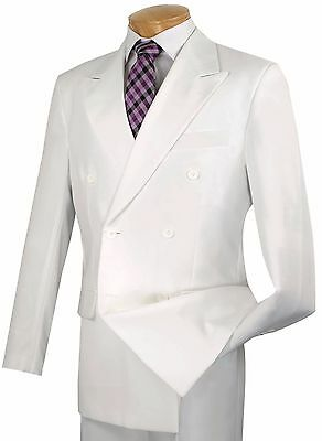 Men's White Double Breasted 6x2 Button Classic Fit Polyester Suit NEW