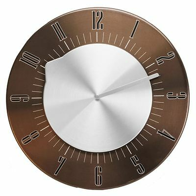 Hometime Rotating Dial Chocolate Brushed Effect 30cm Modern Wall Clock