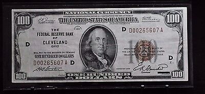 1929 US $100 Brown Seal Federal Reserve Bank of Cleveland Note [03DU]