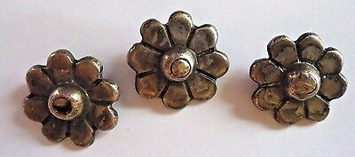 3 Vintage Taxco 980 sterling silver sewing buttons flowers signed