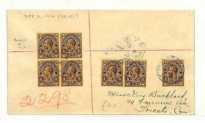 AB347 1919 Turks & Caicos Canada Cover {samwells-covers}PTS