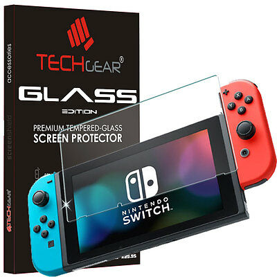 Genuine TECHGEAR TEMPERED GLASS Screen Protector Cover for Nintendo Switch