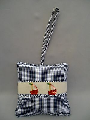 Blue Smocked Sail Boats Musical Lullaby Pillow Crib Music Box VIVE LA FETE