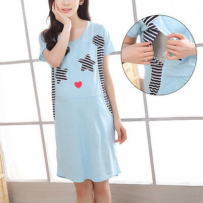 Hot Maternity Sleepwear Pregnant Women Nursing Pajama Summer Breastfeeding Dress