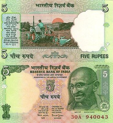 India P88Aa, 5 Rupees, Mahatma Gandhi / farmer plowing with tractor 2002 UNC
