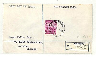 AB134 1946 Barbados Grimsby GB First Day of Issue {samwells-covers}PTS