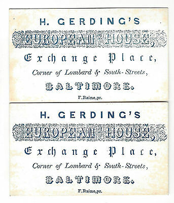 19. Two Antique Business Cards H. Gerdings European House Baltimore Md Pre 1900