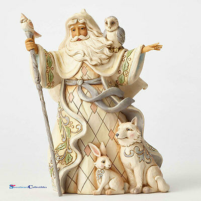 Jim Shore White Woodland Santa with Cane Owl 4053686