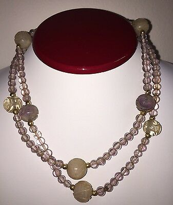 Antique Amethyst And Rose Quartz Hand Carved Shou Necklace Estate Chinese Lot