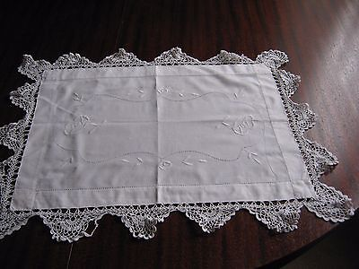 """Vintage white embroidered traycloth with wide lace border. 24"""" x 28"""""""