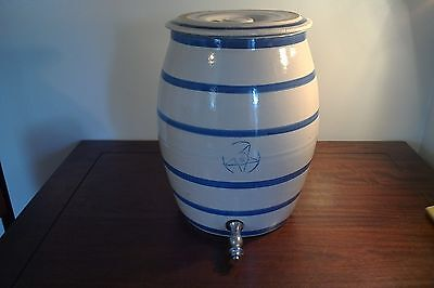 Antique Cobalt Blue  (4) Gallon Star Blue Banded Water Cooler Crock With Lid And
