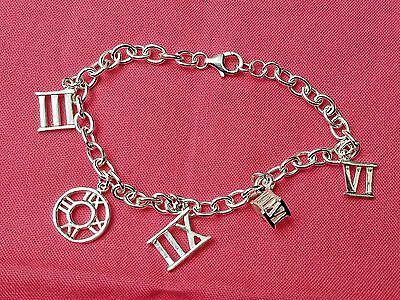 "Vintage Sterling Silver 7.5"" Chain Linked Roman Numerals Charm Bracelet, Jewelry"
