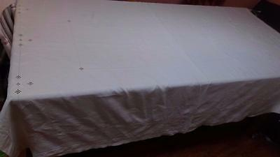 """Vintage 1930s hand embroidery Lefkara large linen tablecloth 75 x 61"""" beautiful"""