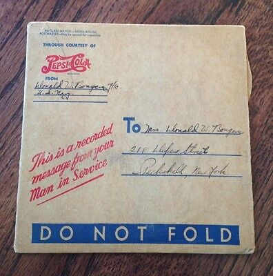 Vintage Wwii Pepsi Recorded Message From Your Man In Service