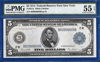 1914 $5 New York Blue Seal FRN Fr. 851a - PMG Almost Uncirculated AU 55EPQ - C2C