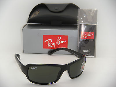 New Authentic Ray-Ban RB 4075 601/58 61mm Black Frame Green Polarized