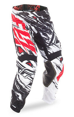 New Fly Racing 2017 Kinetic Mesh Riding Pants-Black/White/Red-Size Adult 36