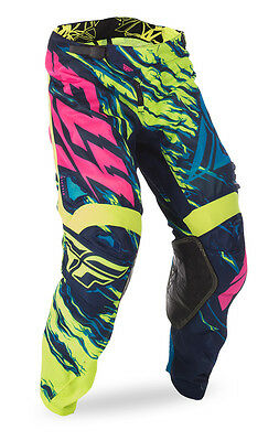 New Fly Racing 2017 Kinetic Mesh Riding Pants-HiVis/Blue/Pink-Size Adult 30