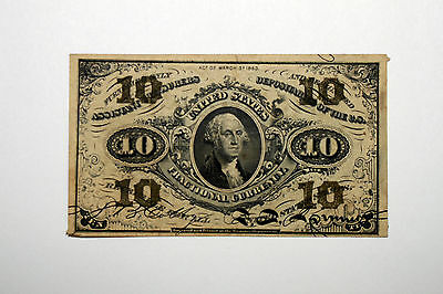 1863 10 Cents Fractional Curreny Note 3rd Issue Green Back Very Fine (NUM3013)
