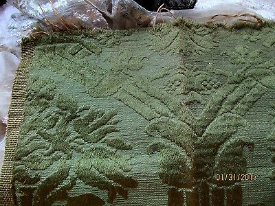 Antique Victorian Soft Silk Damask Cotton Linen Fabric Fragment Sm Square Green