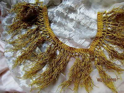 Very Delicate Antique French Victorian Finest Pure Silk Gold Fringe Trim 2 Sm Pc