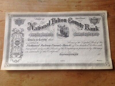 Gloversville N.Y. National Fulton county bank certificate for shares 1879