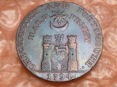 1794 Portsmouth Colonial Halfpenny Trade Token Lettered  Edge RAINBOW Toning #1