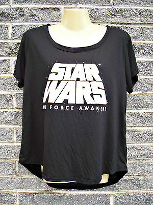 Women's Star Wars T-shirt Top Size M Black Gold White Asymmetrical Short Sleeve