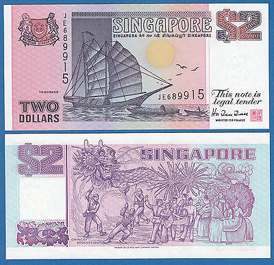 Singapore 2 Dollars P 28 ND (1992) UNC & CRISP WITH   Free Shipping