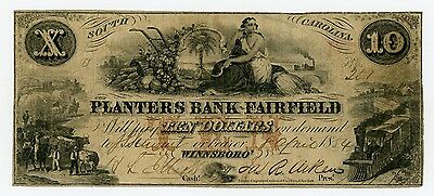 1854 $10 The Planters Bank of Fairfield - Winnsboro', SOUTH CAROLINA Note