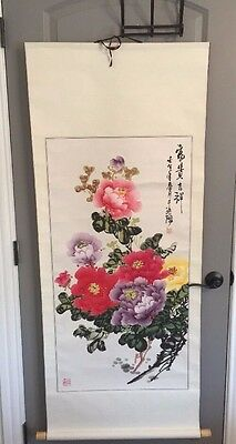 Chinese landscape Flower Scroll Marked