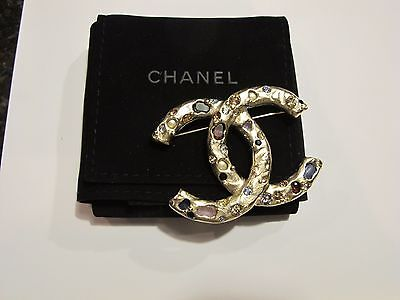CHANEL Matte Gold Maison Gripoix Lava Rock Brooch - New in box Authentic France