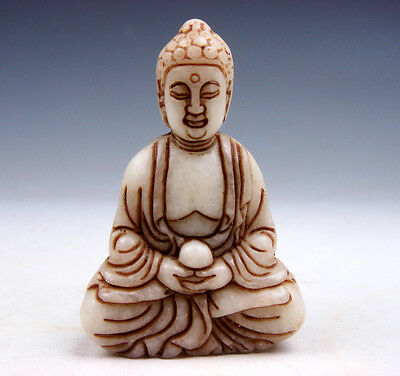 Vintage Jade Stone Carved Sculpture Shakyamuni Buddha Praying #03201701