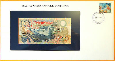 Seychelles 1982 - 10 Rupees Uncirculated Banknote enclosed in stamped envelope.