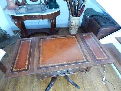 Antique Mahogany Drop Leaf Table W Tooled Leather Top And Leaves