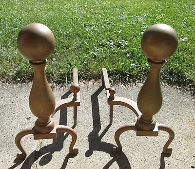 Old Pair Large Heavy Brass Cannonball Fireplace Andirons