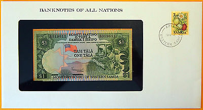 Western Samoa 1980 - 1 Tala Uncirculated Banknote enclosed in stamped envelope.