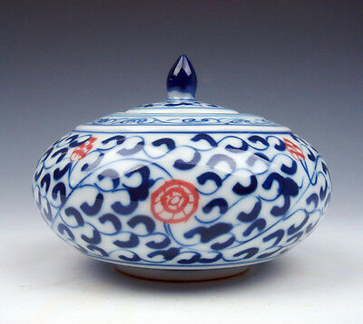 Blue&White Glazed Porcelain Ox-Blood Red Flowers Oval Water Pot Jar #12101601