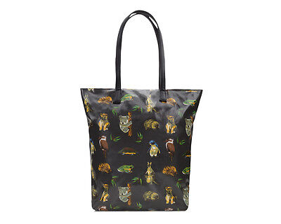 Ladies Oilcloth Classic zip tote book bag - Cotton Vegan Brown Australian animal