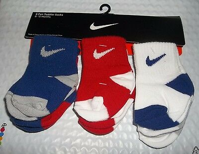 nwt-Boys-Nike-6 Pair Toddler Socks-6-12 Mo.-Red-White-Blue-Spring-Easter-Sports