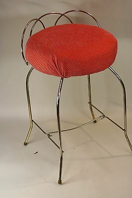 Vintage Shabby Chic Vanity Chair Red & Chrome Hollywood Regency Cushion Seat