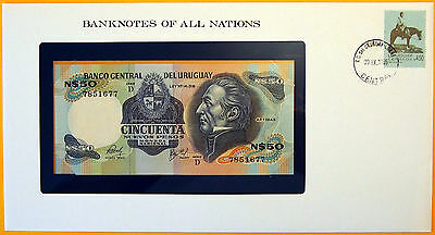 Uruguay 1981 - 50 Nuevos Pesos - Unc. Banknote enclosed in stamped envelope.