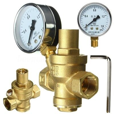 Adjustable DN15 1/2 '' Bspp Brass Water Pressure Reducing Valve With Gauge Flow