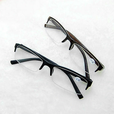 Designer Mens Spring Hinge Half Rimless Reading Glasses Reader Strength +1.0-3.5